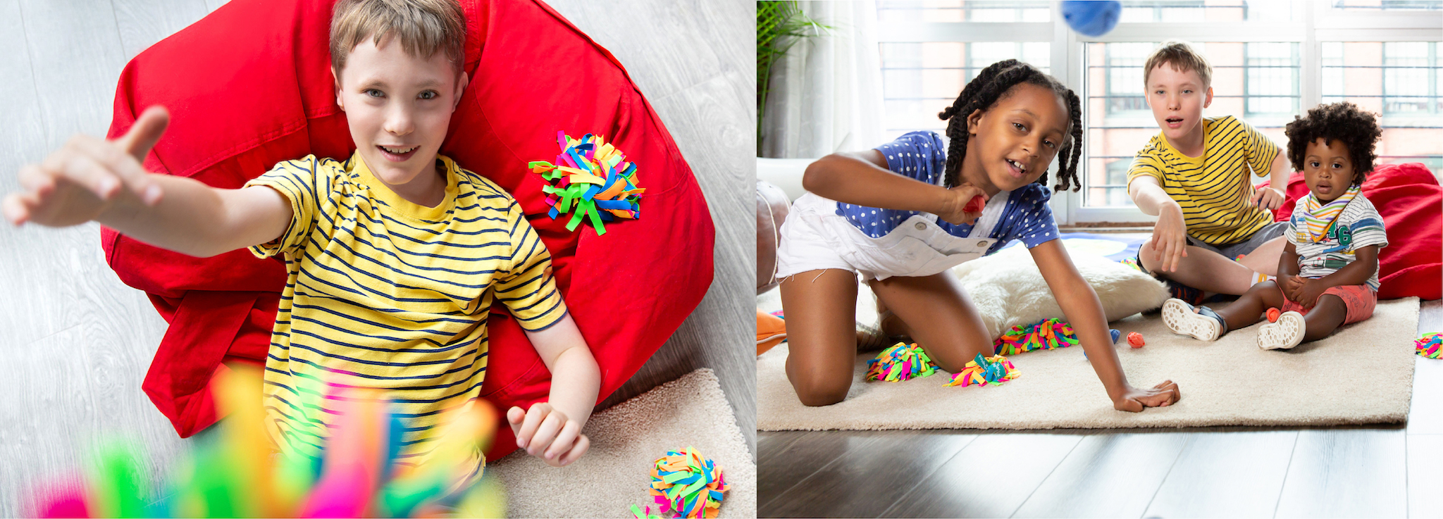 Kids playing with sensory toys