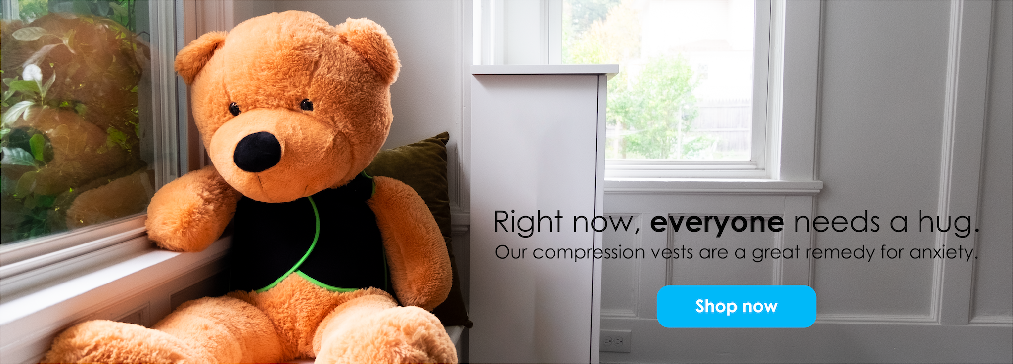 Anxious stuffed bear wearing PunkinHug compression vest